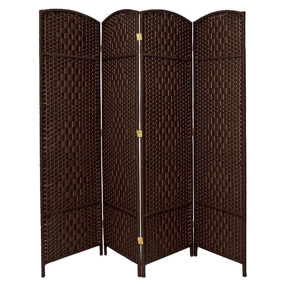Oriental Furniture 7' Diamond Weave 4 Panel Room Divider - Room Dividers - Dark Mocha - Size - One Size - Size Dark Mocha - Unisex - Adult