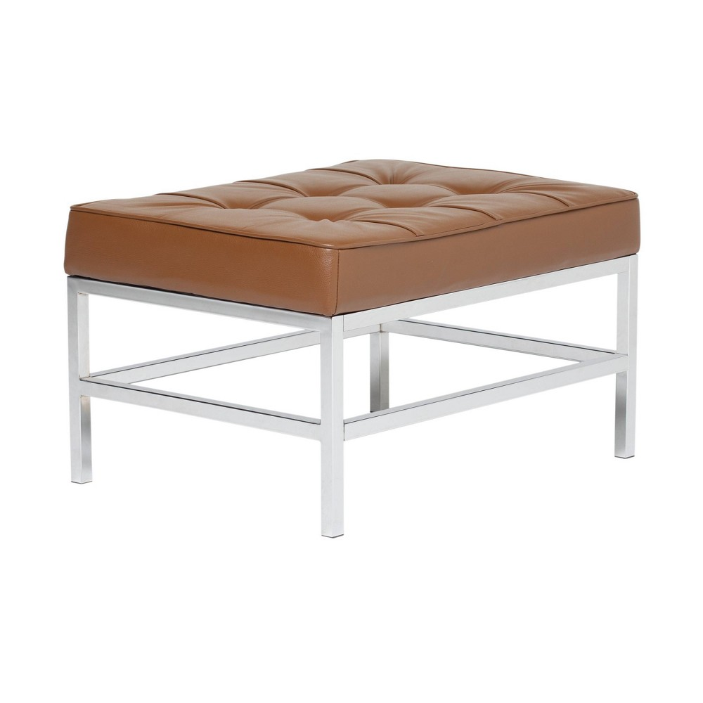 Image of Ashlar Bonded Leather Square Ottoman Caramel - Studio Designs Home
