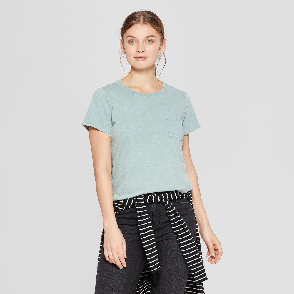 Women's Short Sleeve Crew Neck Meriwether Pocket T-Shirt - Universal Thread Green S