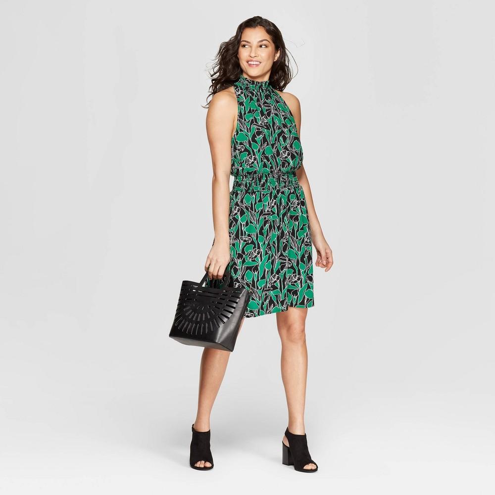 Women's Floral Print Sleeveless Halter Neck Dress - A New Day Black/Green S