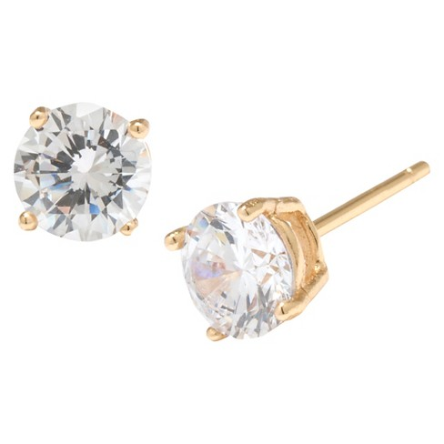 Gold over Sterling Silver Round Cubic Zirconia Stud Earrings (6mm) - image 1 of 1
