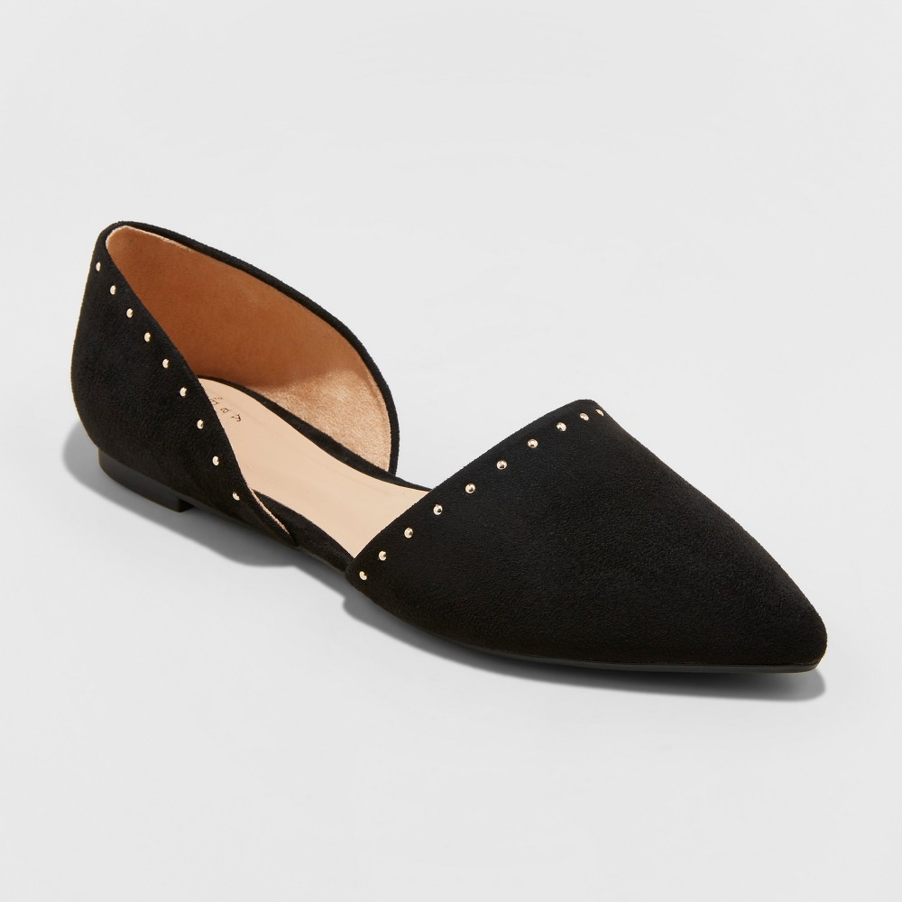 Women's Rebecca Wide Width Pointed Two Piece Ballet Flats - A New Day Vintage Black 6W, Size: 6Wide