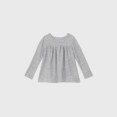 Toddler Girls' Cozy Waffle Long Sleeve T-Shirt - Cat & Jack™ Gray 3T