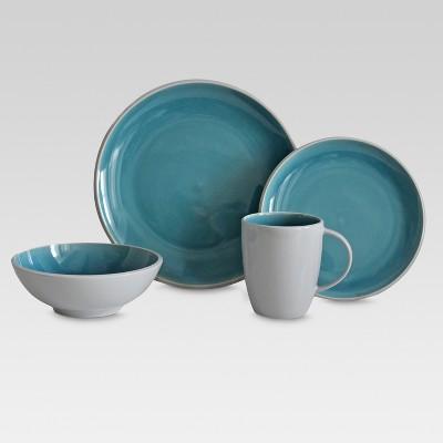 Portel Teal Stoneware 16pc Dinnerware Set - Threshold™