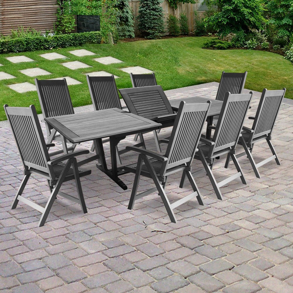 Renaissance Outdoor Patio Hand-Scraped Wood 9pc Dining Set with Extension Table, Mid Grey