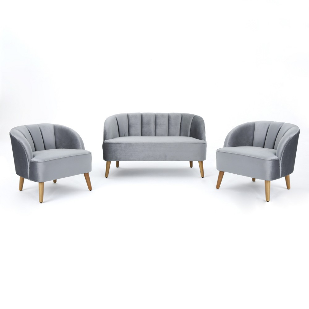 Amaia 3pc Modern New Velvet Chat Set Pewter (Silver) Black - Christopher Knight Home