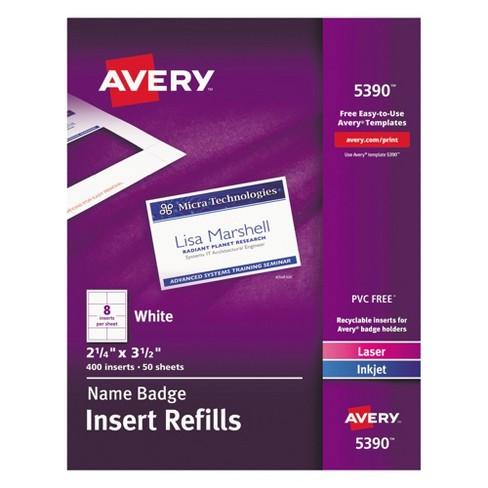 Avery Additional White Laser Inkjet Insert For Badge Holder 2 1 4 X 3 400 Bx Target