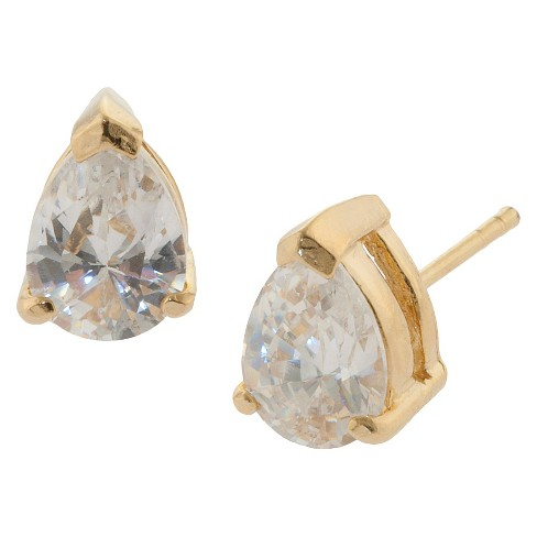 Gold over Sterling Silver Pear Shape Cubic Zirconia Stud Earrings - image 1 of 1