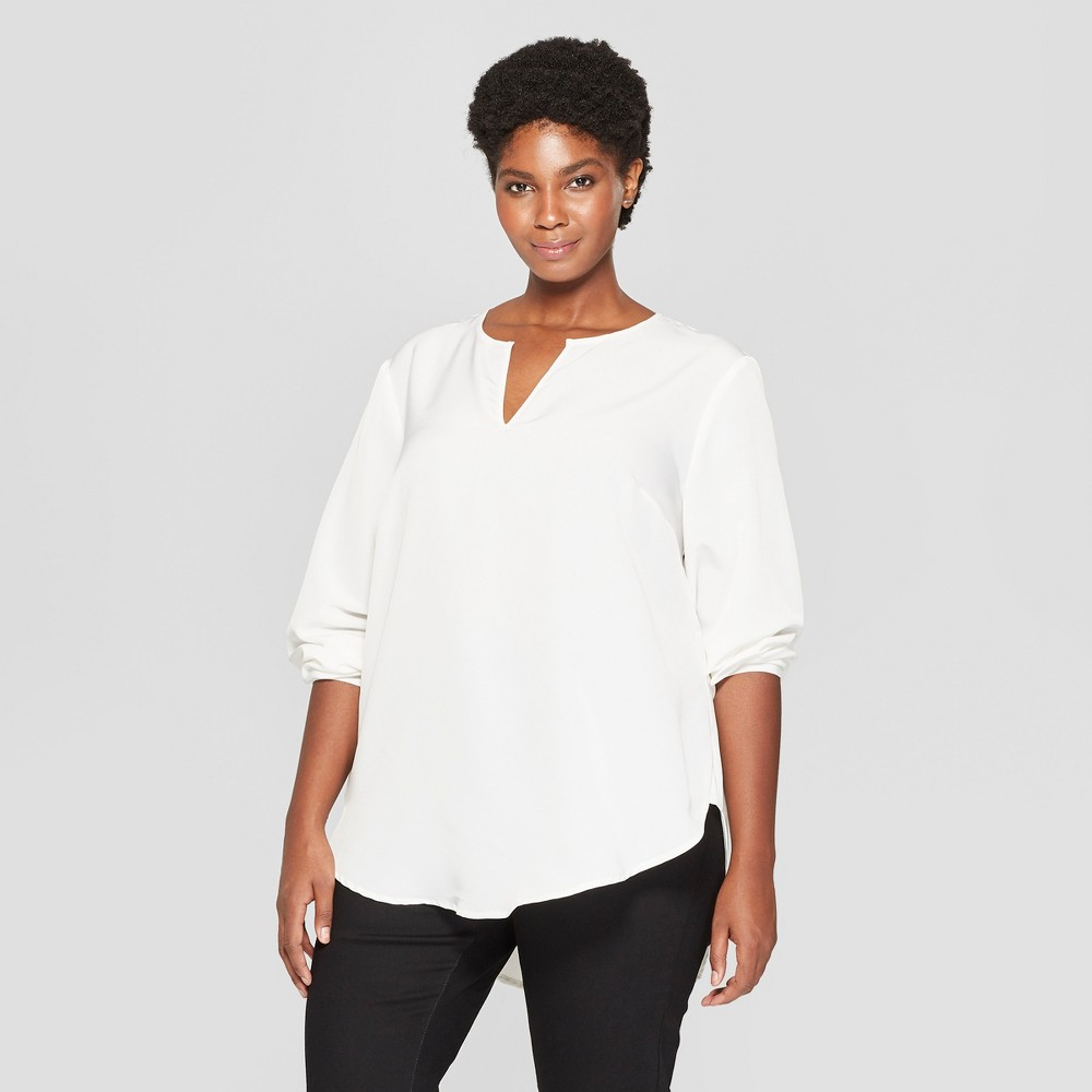 Women's Plus Size Long Sleeve Woven Popover - Ava & Viv Cream (Ivory) 4X