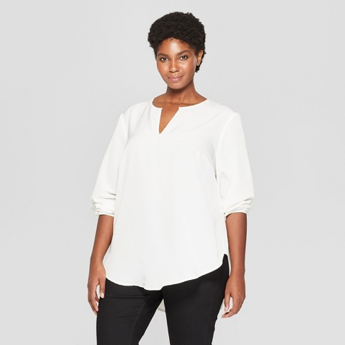 bea53db9944b8 Women s Plus Size Long Sleeve Woven Popover - Ava   Viv™ Cream X ...