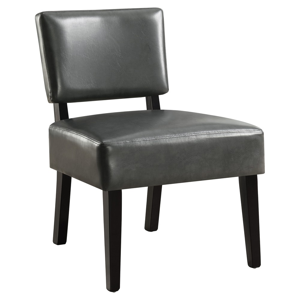 Accent Chair Leather Look Fabric Charcoal Gray - EveryRoom