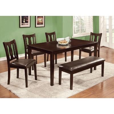 IoHomes Arthur 6pcs Dining Table Set Wood/Espresso