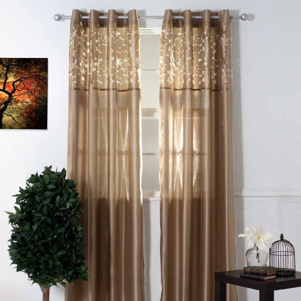 Yorkshire Home Karla Laser Cut Grommet Curtain Panel - Taupe (108), Taupe Brown