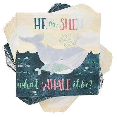 "Blue Panda 100 Pack Gender Reveal Whale Design Paper Disposable Napkin Napkins Baby Shower Decorations, 6.5"""