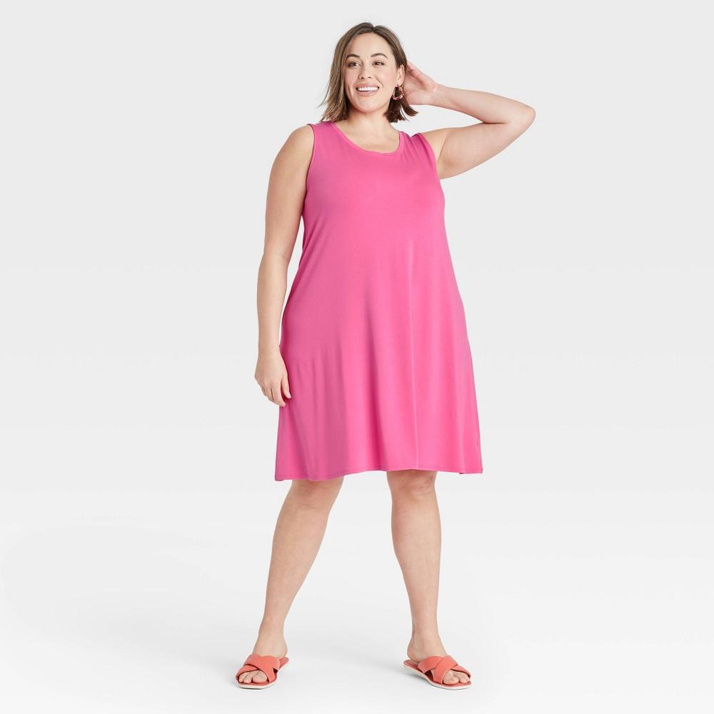 Women 39 S Plus Size Sleeveless Knit Swing Dress Ava 38 Viv 8482 Pink 1x