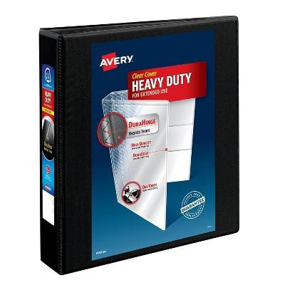 "Avery 375 Sheet 1.5"" Heavy Duty Nonstick View Ring Binder Black"