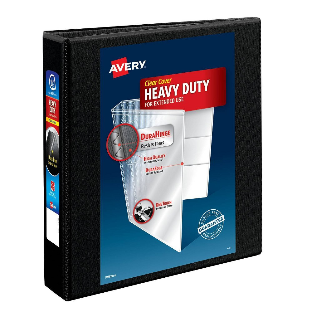 """Image of """"Avery 375 Sheet 1.5"""""""" Heavy Duty Nonstick View Ring Binder Black"""""""