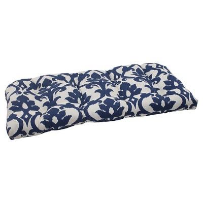 Outdoor Wicker Loveseat Cushion - Blue/White Damask