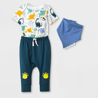 Baby Boys' Bodysuit, Bib and Bottom Set - Cat & Jack™ Blue/White 3-6M