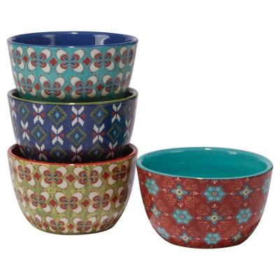 Certified International Monterrey by Veronique Charron Ceramic Bowls 22oz Blue - Set of 4