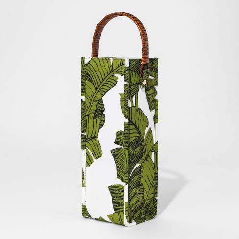 Fabric Wine Bag with Rattan Handle Green Palms - Threshold™ - image 1 of 1