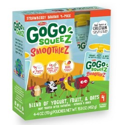 GoGo squeeZ Kids' SmoothieZ, Strawberry Banana - 4oz/4ct