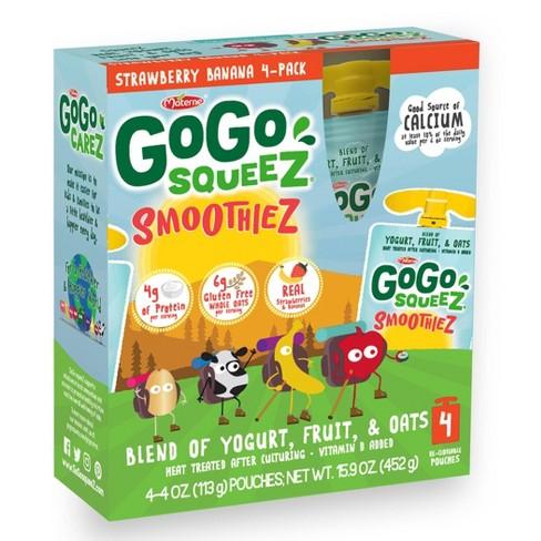 GoGo squeeZ Kids' SmoothieZ, Strawberry Banana - 4oz/4ct - image 1 of 4