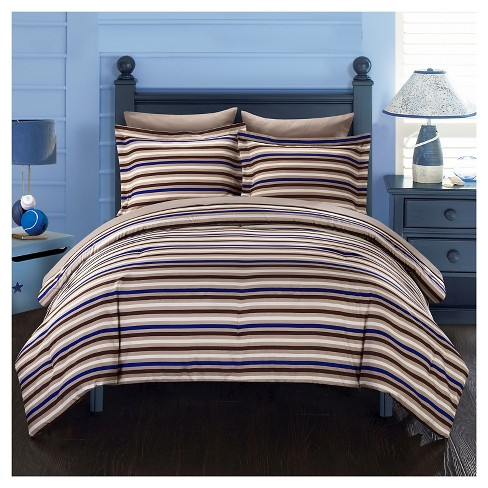 Rianne Striped Printed Reversible Comforter Set 5 Piece Twin Brown