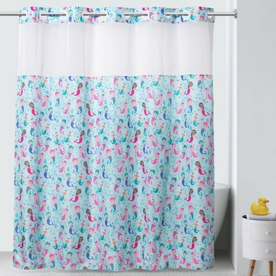 "71""x74"" Mermaids Shower Curtain with PVC Storage Pocket Liner - Hookless"