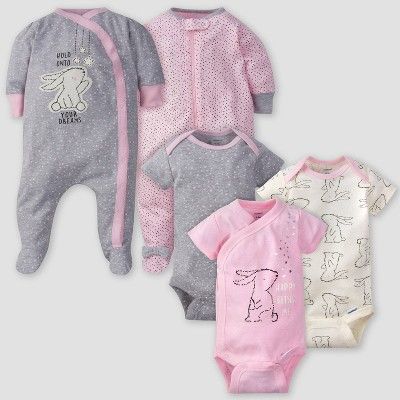Gerber Baby Girls' 5pk Bunny Short Sleeve Onesies and Sleep N' Play - Pink/Gray/Cream Newborn