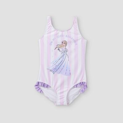 Girls' Frozen One Piece Swimsuit - Purple