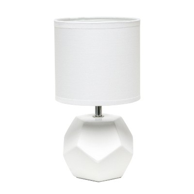 Round Prism Mini Table Lamp with Matching Fabric Shade White - Simple Designs