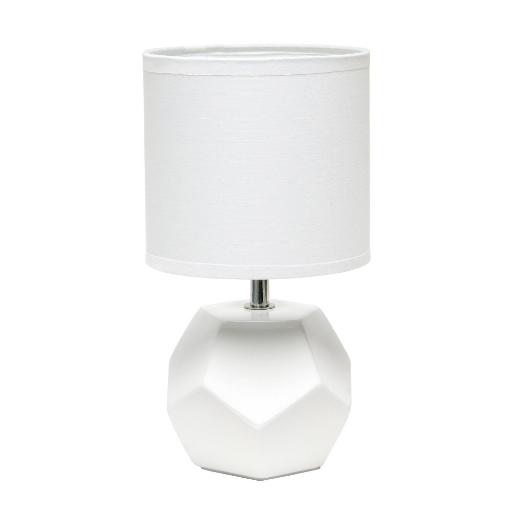 Round Prism Mini Table Lamp With Matching Fabric Shade White Simple Designs
