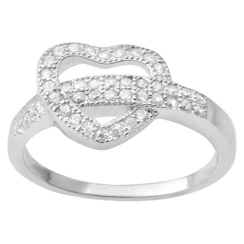 1/2 CT. T.W. Round-Cut Cubic Zirconia Heart Belt Pave Set Ring in Sterling Silver - Silver - image 1 of 3