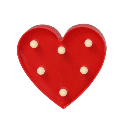"""Northlight 6"""" Battery Operated LED Lighted Valentine's Day Heart Marquee Sign - Red"""