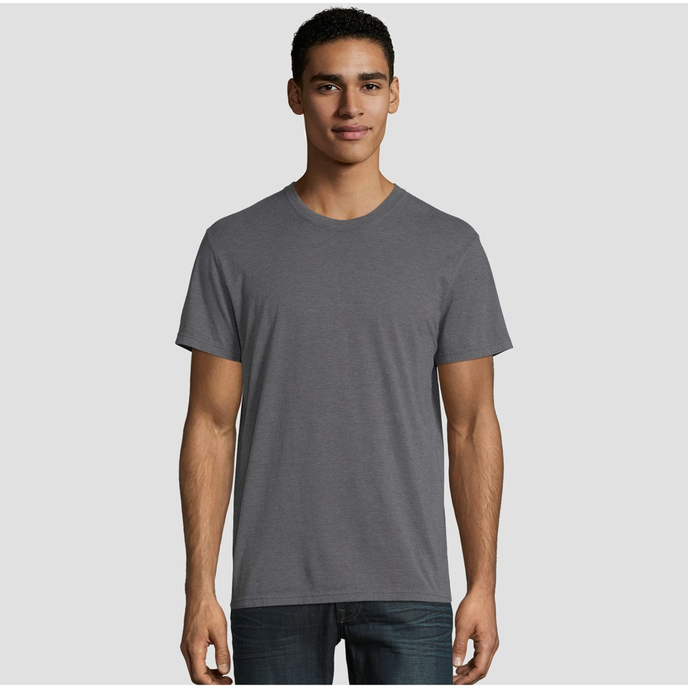 Image of petiteHanes Premium Men's Short Sleeve Black Label Crew-Neck T-Shirt - Charcoal Heather M, Size: Medium, Grey Grey