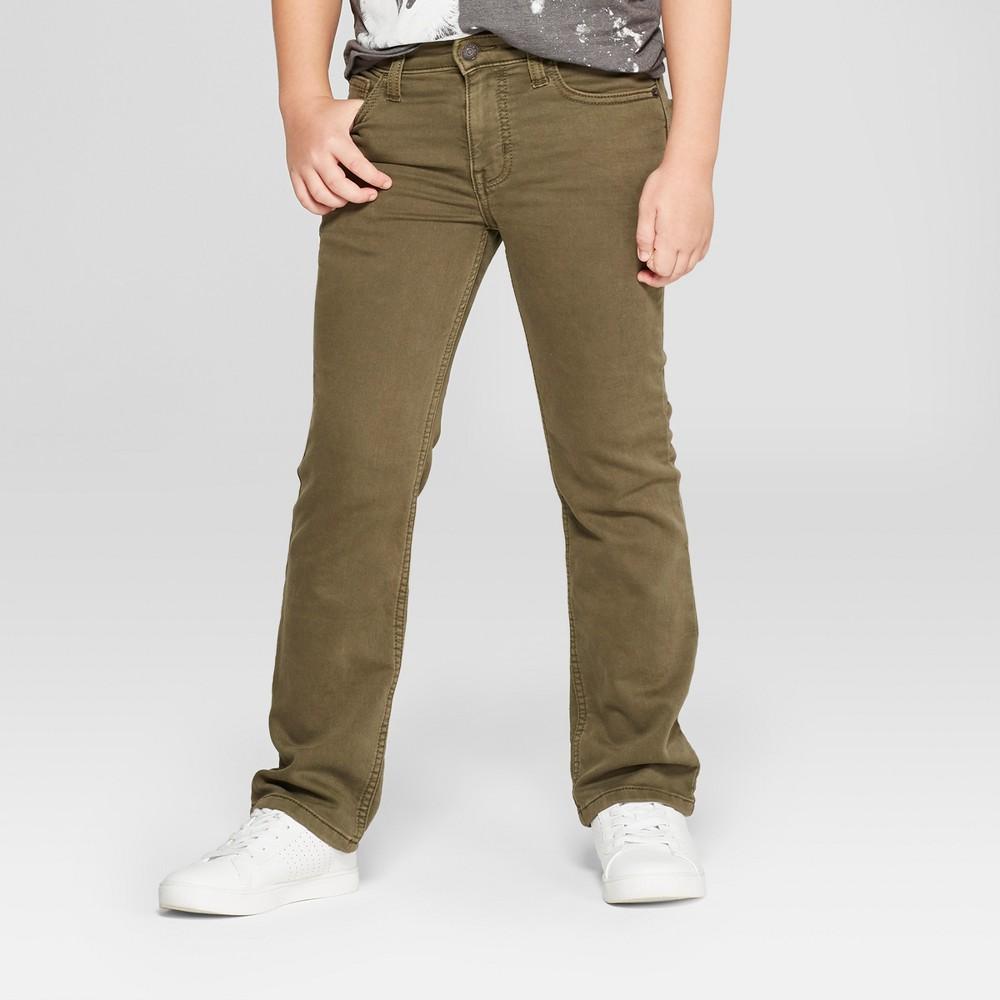 Boys' Denim Moss Jeans - Cat & Jack Olive 10 Husky, Green