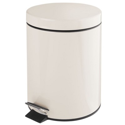 mDesign Small Round Step Trash Can Garbage Bin, Removable Liner, 5L