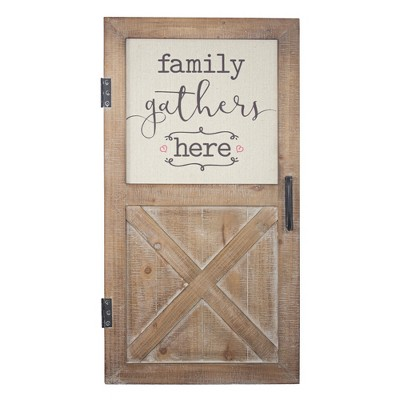 """16"""" x 30"""" Family Gathers Here Wood and Metal Door Wall Sign Light Brown - American Art Decor"""