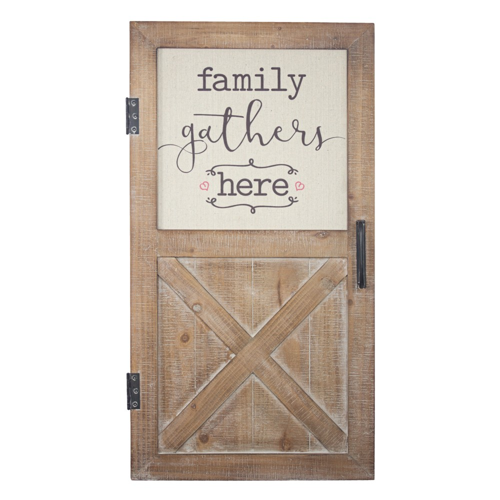 Image of 'Family Gathers Here' Metal And Wood Wall Decor Light Brown - E2 Concepts