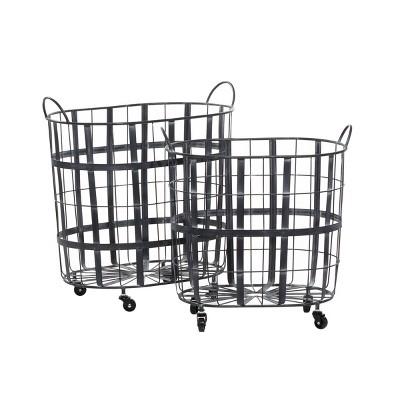 2pk Metal Industrial Storage Baskets Black