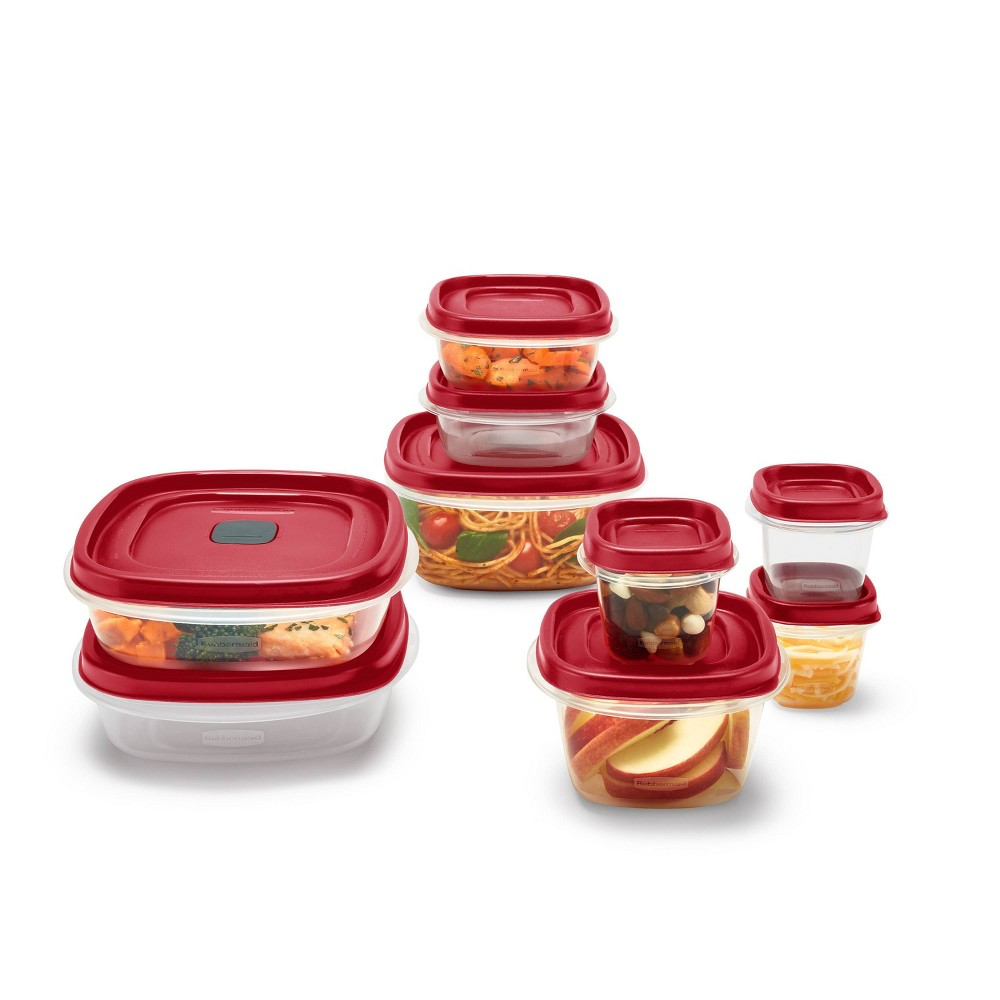 Image of Rubbermaid 18pc Plastic Food Storage Container Set Red