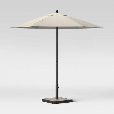 7.5' Round Patio Umbrella Gray - Silver Pole - Room Essentials™