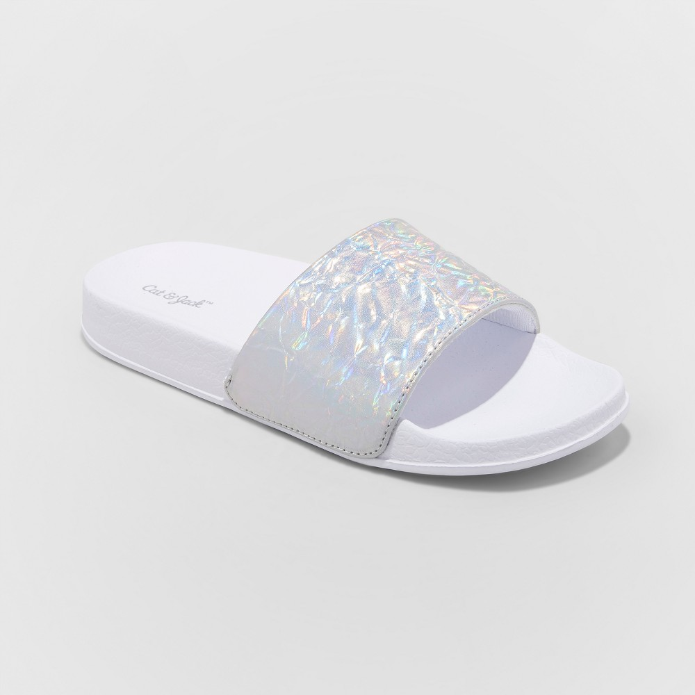 Girls' Blossom Slide Sandals - Cat & Jack Silver XL