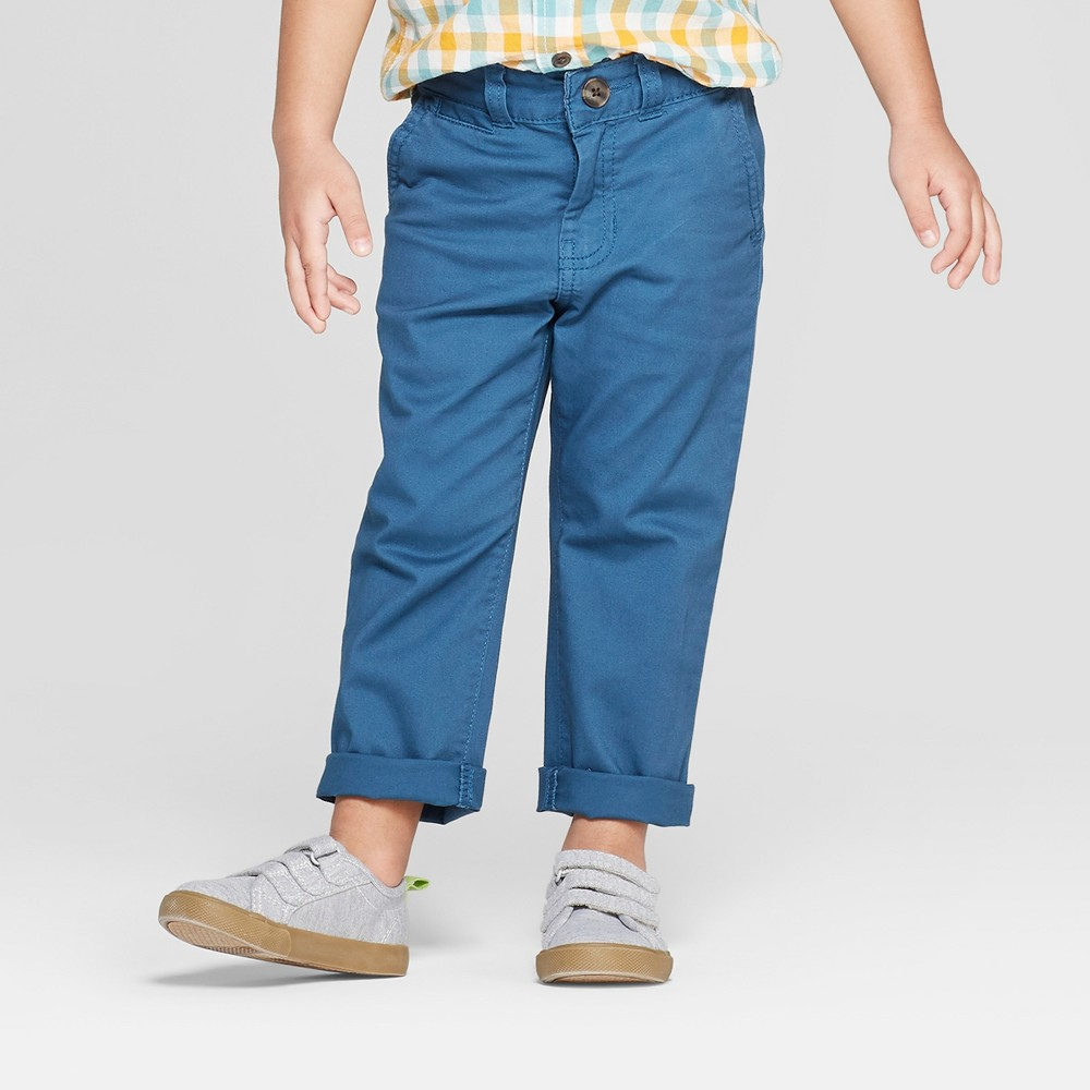 Toddler Boys' Flat Front Chino Pants - Cat & Jack Blue 12M