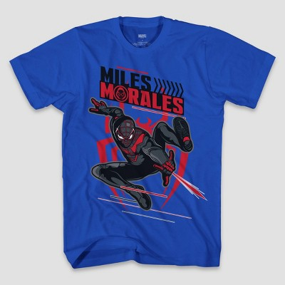 Boys' Marvel Miles Morales Short Sleeve Graphic T-Shirt - Blue