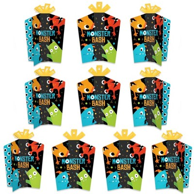 Big Dot of Happiness Monster Bash - Table Decorations - Little Monster Birthday Party or Baby Shower Fold and Flare Centerpieces - 10 Count