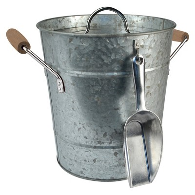 Masonware Ice Bucket with Scoop, Plastic Insert & Lid, Galvanized