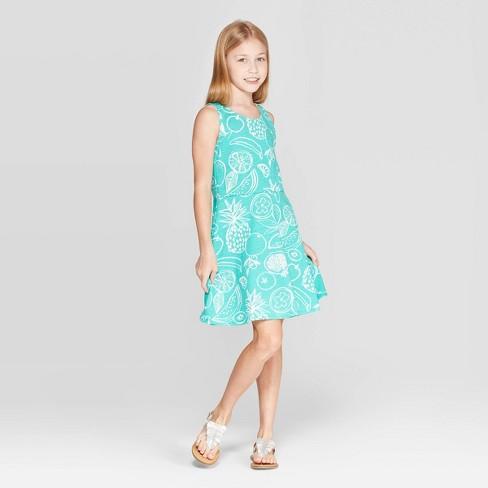 Girls' Fruit Print Tank Knit Dress - Cat & Jack™ Green - image 1 of 3