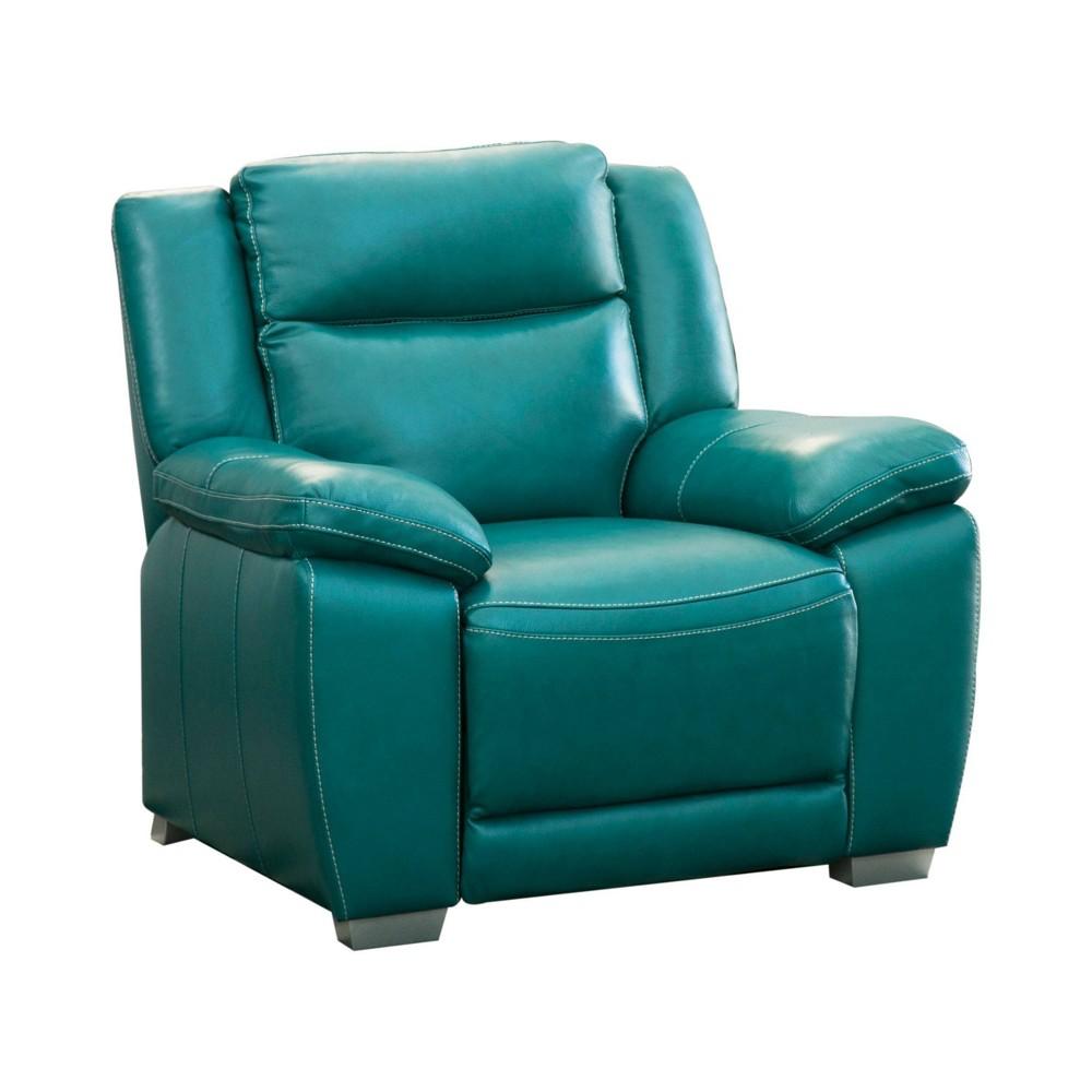 Lyra Top Grain Leather Reclining Armchair Turquoise - Abbyson Living